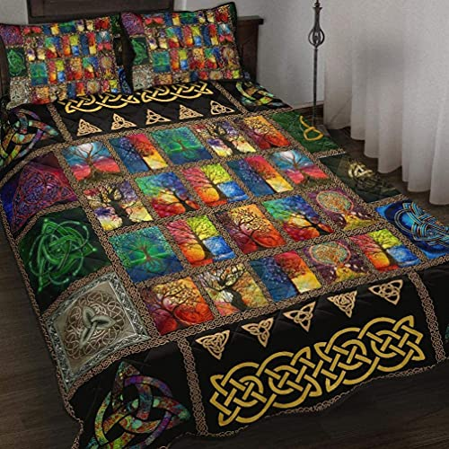 Gift for Family Celtic Quilt Bed Set Celtic Symbols with Celtic Tree Bedding Set 3 Pieces Quilt Cover with Pillowcase Cover Soft Comfortable for Kids Parents Us Throw Twin Queen King Size