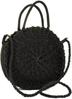 Onorner Women Straw Crossbody Bag Weave Shoulder Bag Round Summer Beach Purse Handbags