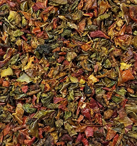 Red & Green BELL Peppers 2 Pounds Bulk Bag-Heat Sealed to Maintain Freshness-Crushed & Dried Spice Seasoning