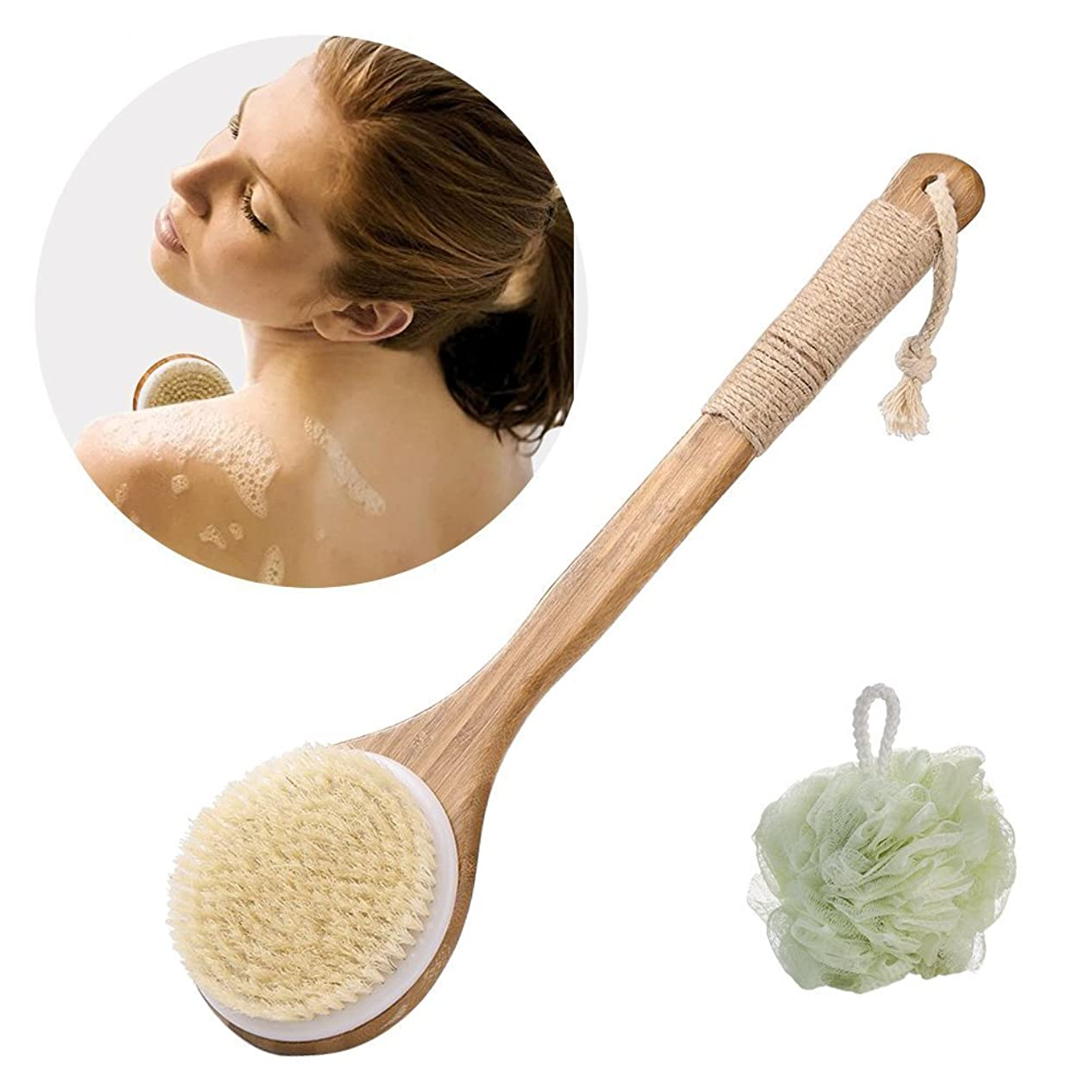 ベッツィトロットウッド改修するマットレスボディブラシ天然豚毛100% KUXIEN 2個セット バスボール 全身マッサージ天然材 お風呂グッズ 毛穴洗浄/血行促進/角質除去 竹製長柄 美肌効果 背中
