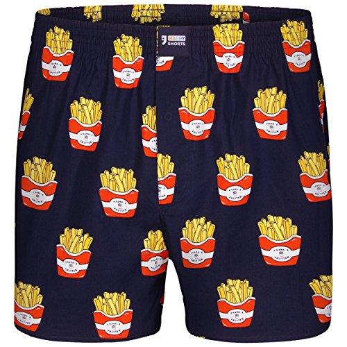 Happy Shorts Boxershorts Herren/Web-Boxer mit Jersey-Innenslip; Modell: Pommes Frites (M)
