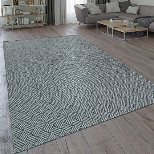 Paco Home Teppich Grau Wohnzimmer Küche Web Design Flecht Muster Robust Flachgewebe, Grösse:60x100 cm