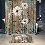 Rustic Teal Daisy Butterfly Shower Curtain and Mat Vintage Floral Brown Barn Door Country Farm Bathroom Shower Curtains Rug Set with 12 Hooks (72'x72')