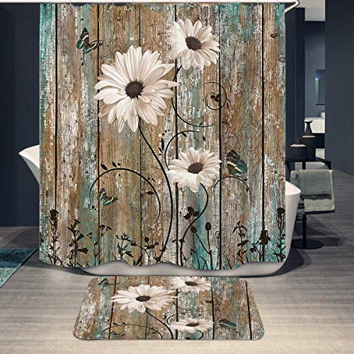 "Rustic Teal Daisy Butterfly Shower Curtain and Mat Vintage Floral Brown Barn Door Country Farm Bathroom Shower Curtains Rug Set with 12 Hooks (72""x72"")"