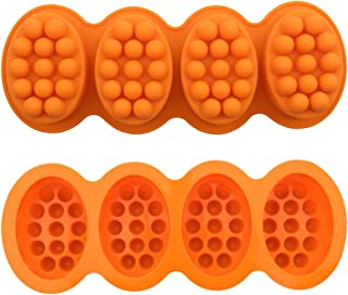 URlighting Silicone Soap Mold, 4 x 4.5 oz Cavities, Massage Bar DIY Handmade Soap Making Mold, Baking Cake Fondant Mousse ...