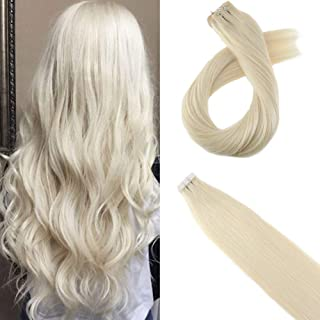 Moresoo Remy Human Hair Extensions 14inch Tape on Hair Seamless Skin Weft Adhesive Hair Extensions Platinum Blonde #60 Human Hair Extensions Blonde 20pcs/50g