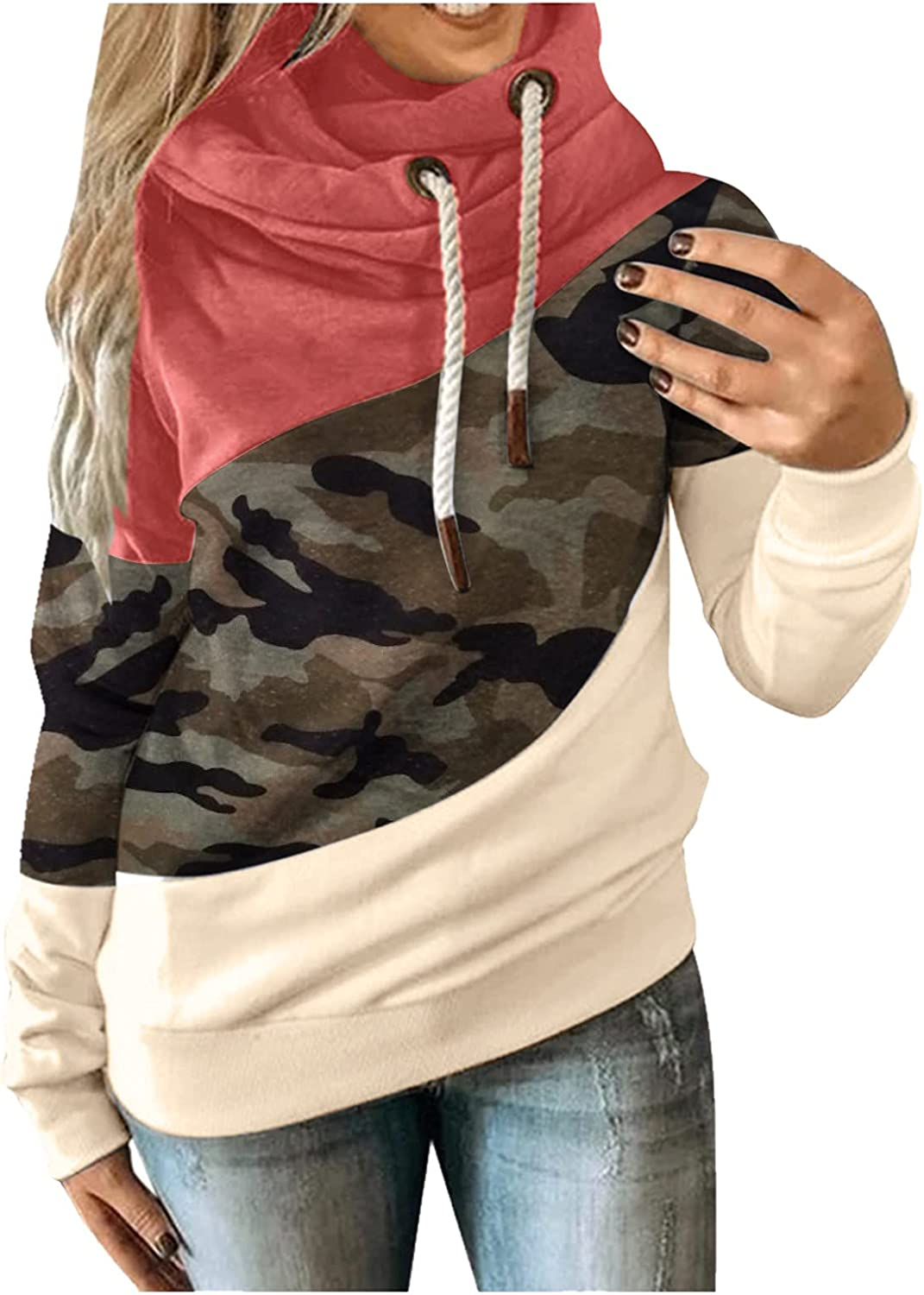 Hoodie for Womens Long Sleeve Drawstring Turtleneck Leopard Graphic Colorblock Thick Oversized Vintage Top Tee Shirt