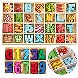 Mengger 172Pcs Letras de Madera pequeñas Colorido números de madera Natural Letras mayúsculas...