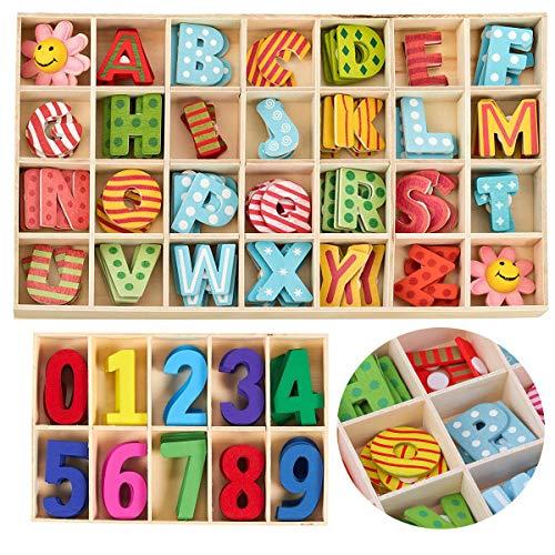 Mengger Holz Buchstaben 172Pcs Bunte Holzbuchstaben Großbuchstaben Kinder Holz Zahlen Alphabet Nummer Kid Holzspielzeug Lernspielzeug Handwerk Buchstaben Für Kunsthandwerk DIY
