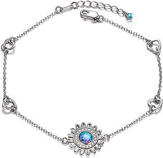 سوار فضة استرليني 925 أساور عباد الشمس للنساء - هدية مجوهرات للفتيات في عيد الميلاد