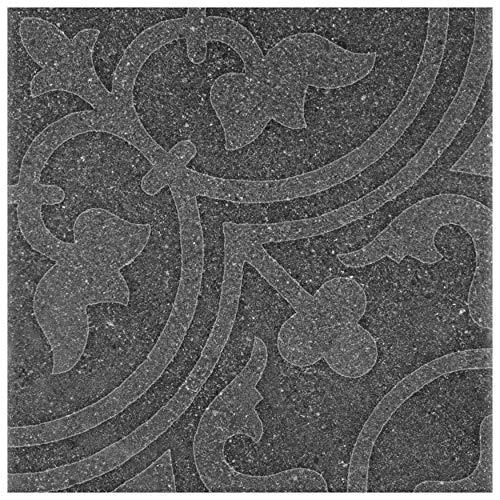 Fabri Stone Ceramic Tile, Grey, 16 Piece - SomerTile FAZ10FAN