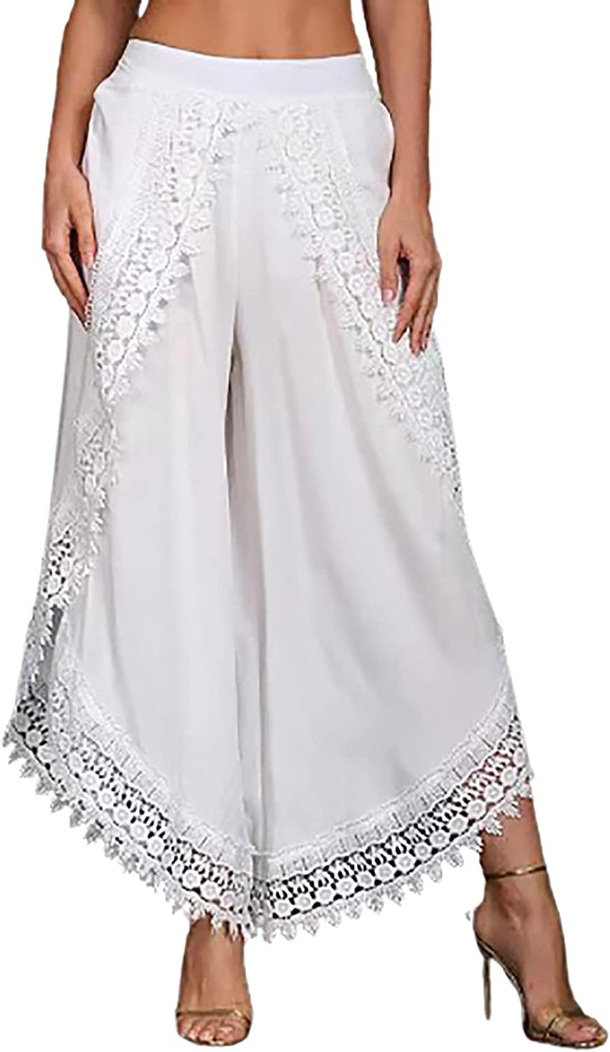Capris for Women Lace High Waist Swimsuit Cover Up Pants Cropped Wide Leg Palazzo Lounge Pants Beach Pants