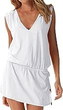 Hount Women's Beach Swimsuit Cover up Deep V-Neck Short Mini Dress Beach Skirt