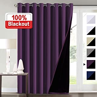 100% Blackout Curtains for Living Room Extra Wide Blackout Curtains for Patio Doors Double Layer Lined Drapes for Double Window Thermal Insulated Curtains/Draperis - Indigo Plum, 100