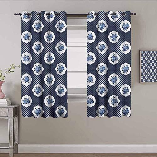 Nileco Blickdicht Vorhang Wärmeisolierender - Blau Blumen Tupfen Einfachheit - 140x160 cm - Junge mit Mädchen Schlafzimmer Wohnzimmer Kinderzimmer - 3D Digitaldruck mit Ösen Thermo Vorhang