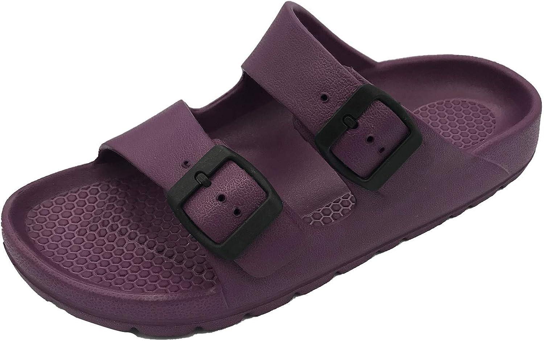 NITTI Women's Comfort Slip on Slides Adjustable Double Strap Buckle Sandals Lightweight House Slippers Arch Support Indoor Outdoor Shower EVA Flat Sandals