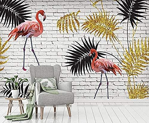 ZZXIAO Flamingo mit Goldblättern Seitenwandtapete Gold für Hauptschlafzimmer Wohnzimmer Tapete Wandverkleid wandpapier fototapete 3d effekt tapete Wohnzimmer Schlafzimmer Hintergrundbild-300cm×210cm