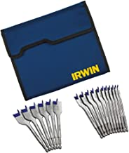IRWIN Tools SPEEDBOR Blue-Groove Pro Spade Bit Set with Storage Case, 17-Piece (1792761)