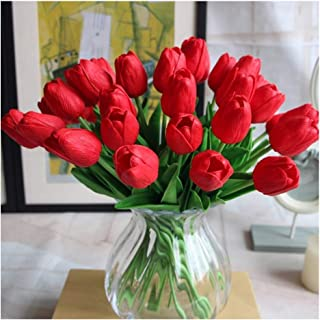 SHINE-CO LIGHTING PU Real Touch Tulips Artificial Flowers 10 Pcs Flowers Arrangement Bouquet for Home Office Wedding Decoration (Red)