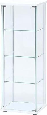 不二貿易 コレクションケース フィギュアケース 4段 高さ120cm ホワイト 全面ガラス ロータイプ 97341