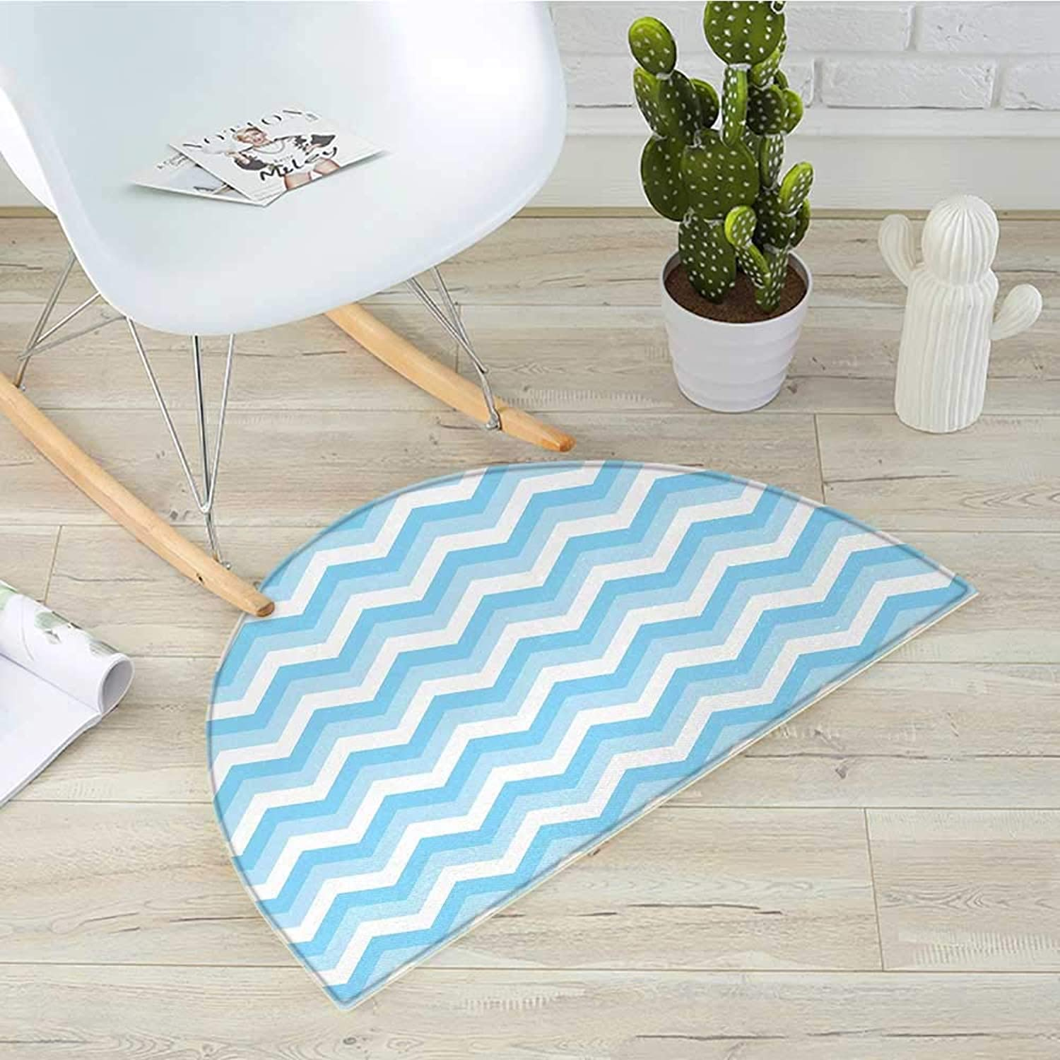 Chevron Half Round Door mats Zigzag Pattern Sea Aqua colors Classic Antique Artwork Illustration Bathroom Mat H 39.3  xD 59  Baby bluee Pale bluee White
