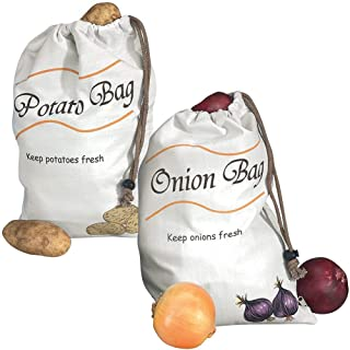 SaPeal Potato & Onion Sprout-Free Vegetable Storage Bags - White (Pack of 2)