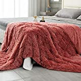 Topblan Fuzzy Sherpa Faux Fur Weighted Blanket 15lbs, Ultra Soft Reversible Plush Blanket with Luxury Long Fur and Shaggy Sherpa to Help with Better Sleep, 60x80 inches Dirty Pink