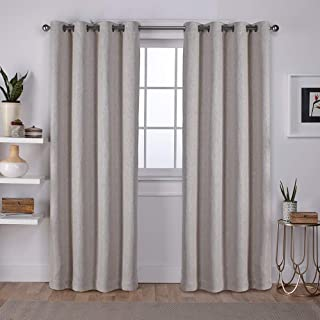 Exclusive Home Curtains Vesta Heavyweight Textured Linen Blackout Window Curtain Panel Pair with Grommet Top, 52x96, Sand,...