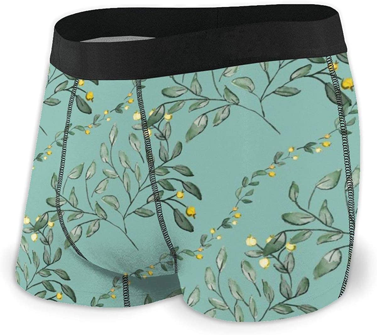 Mens Boxer Briefs Provence Country Floral Leaf Bikini Underwear Stretch Low Rise Trunks Boys Underpants