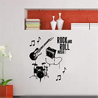 Vinyl Wall Sticker Mural Bible Letter Quotes Musical Instruments Rock N Roll Band Drums