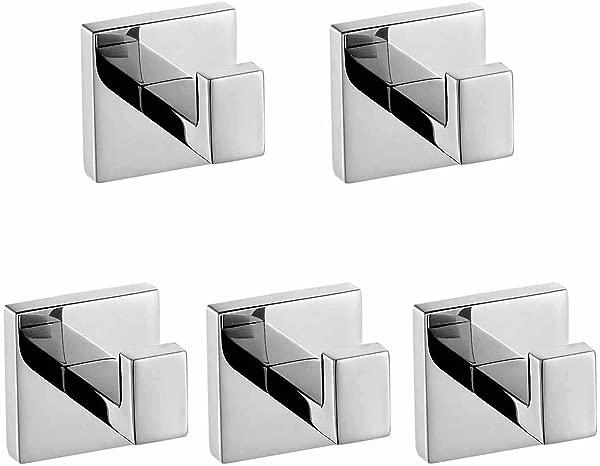 ThinkTop 5pcs Luxury 304 Stainless Steel Bathroom Single Towel Hook Robe Chrome Wall Mount Coat Hat Door Hook Hanger Mirror Polished Bathroom Accessories