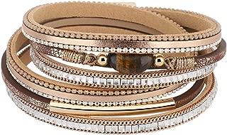Layered Leather Bracelet, Handmade Agate Chakra Crystal Glass Beaded Shell Bracelet, Bohemian Style Multilayer Wrap Bracelet for Women Lady Adult