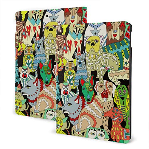 Case for iPad Abstract Panting PU Leather Business Folio Shell Cover with Stand Pocket and Auto Wake/Sleep for iPad Air 10.5'