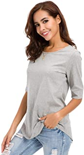 MRLZ Women's Casual T Shirts Loose Cotton Mid Sleeve Basic Tee Tops with Solid Color