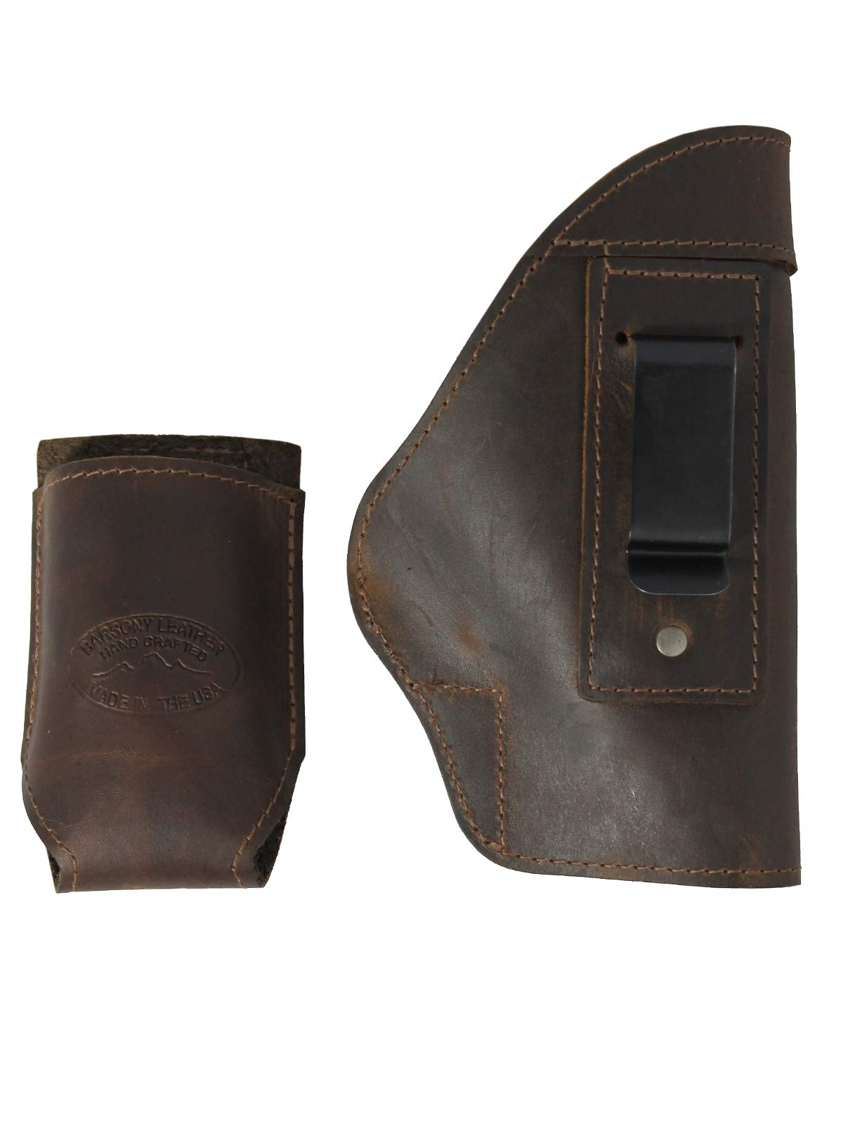 Barsony Brown Leather Holster Magazine