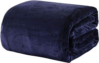 毛布 シングル あったか マイクロファイバー 軽い 暖かい柔らかい ふわふわ 洗える フランネル 毛布 (シングル・140×200cm, ネイビー)