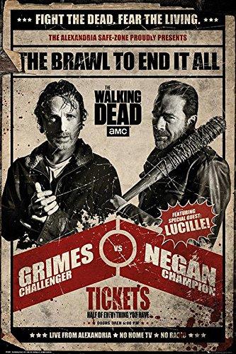 The Walking Dead Poster Grimes vs Negan Fight (61cm x 91,5cm) + 2 St. Schwarze Posterleisten mit Aufhängung