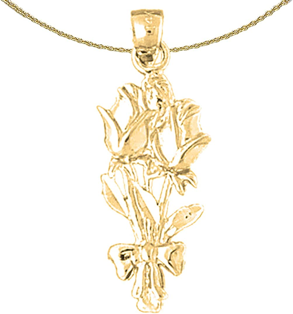 Jewels Detroit Mall Obsession 14K Gorgeous Yellow Gold Rose Flower 18