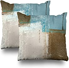 Set of 2 Decorative Pillow Case Throw Pillows Covers for Couch/Bed 18 x 18 inch, Blue Brown Abstract Art Painting Home Sof...