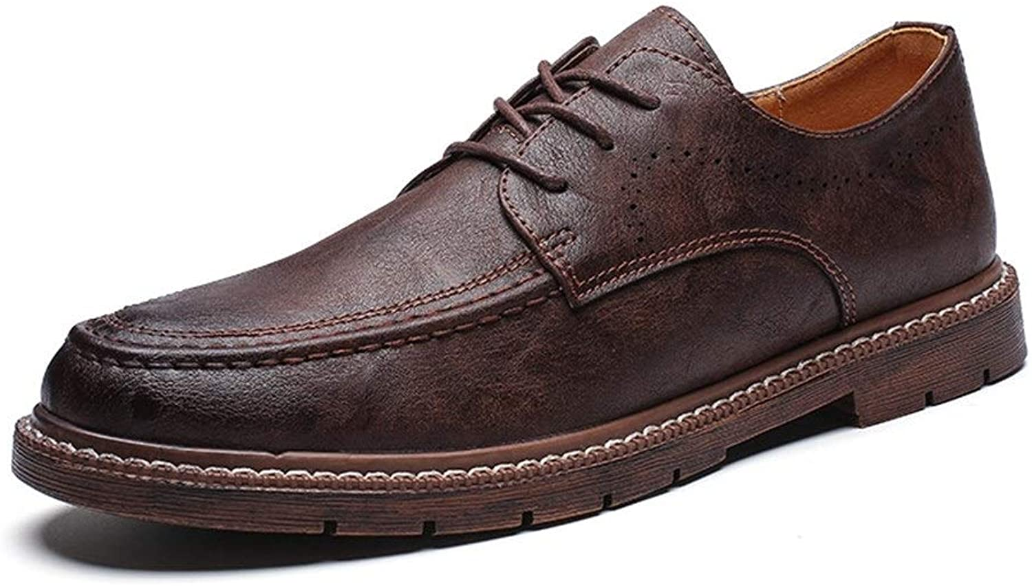 Easy Go Shopping Oxford shoes For Men Formal shoes Lace Up Microfiber Leather Simple Comfortable Round Toe shoes Cricket shoes (color   Brown, Size   8.5 UK)