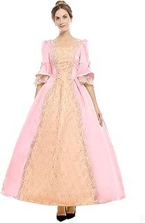 Womens Royal Retro Medieval Renaissance Dresses Lady Satin Masquerade Dress