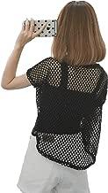 Women's Short Sleeve See Through Sheer Mesh Fishnet T Shirt top