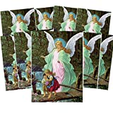 Religious Art Prints for Home Decoration, Guardian Angel Devotional Image with Prayer, 5 x 7 Inches, Pack of 10
