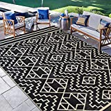 SAND MINE Reversible Mats, Plastic Straw Rug, Modern Area Rug, Large Floor Mat and Rug for Outdoors, RV, Patio, Backyard, Deck, Picnic, Beach, Trailer, Camping (9' x 18', Black & Cream)