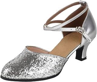 XFentech Sequins Glitter Criss Cross Women's Ballroom Dancing Latin Dance Closed Toe Shoes