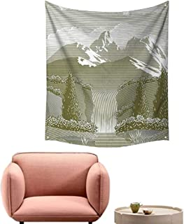 alsohome Tapestry Blanket Hanging Tapestry for Bedroom Woodcut Style Mod Illustration of Mountain Stream and Waterfall Paradise 57