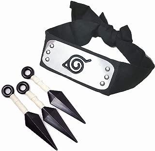 IDOXE Naruto Konoha Leaf Village Shinobi Headband with Naruto Ninja Props Kunai Plastic Toy for Anime Cosplay 4 Set