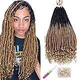 7 Pack Faux Locs Estensioni per capelli intrecciati all'uncinetto Locs sintetici naturali morbidi Dread con estremità ricci Estensione per capelli intrecciati per donne Ragazze (1B / 27#, 20 pollici)