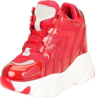 Cambridge Select Women's 90s Ugly Dad Rave Hidden Wedge Extra High Chunky Platform Fashion Sneaker
