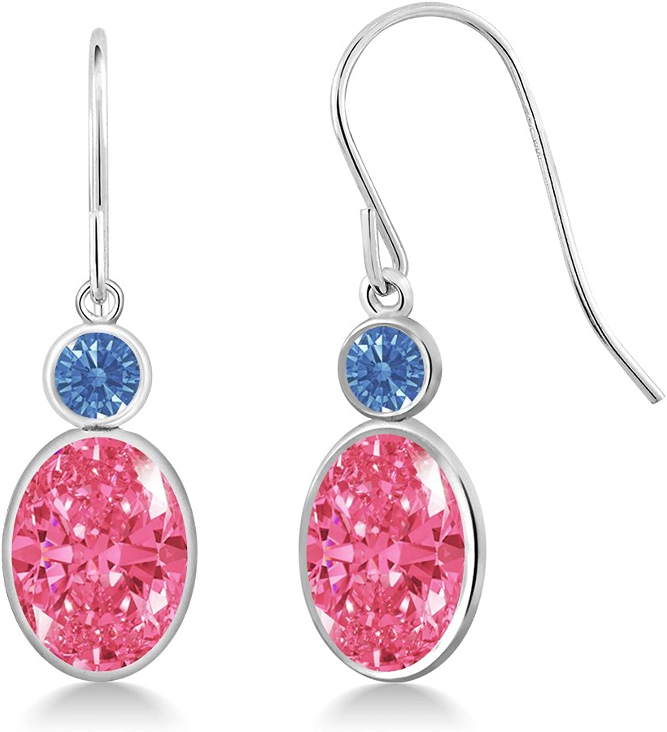 2.64 Ct Fancy Pink 14K White gold Earrings Made With Swarovski Zirconia